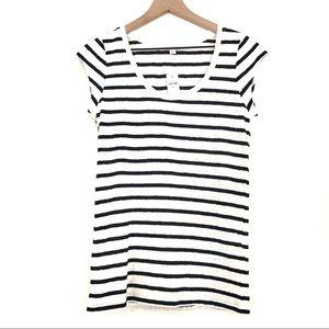 NWT   GAP   Black & White Striped Cap Sleeve Tee